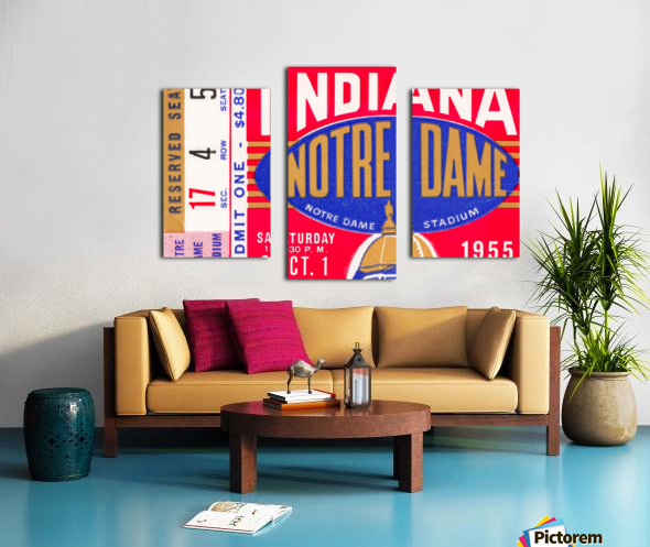 1955 indiana notre dame football ticket stub wall art canvas posters wood Canvas print