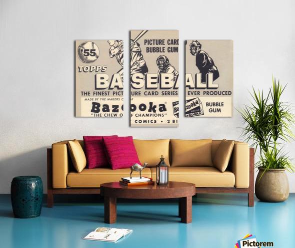 1955 Topps Baseball Bazooka Bubble Gum Vintage Metal Sign Canvas print