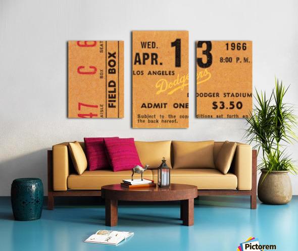 1966 la dodgers baseball ticket stub canvas art Canvas print