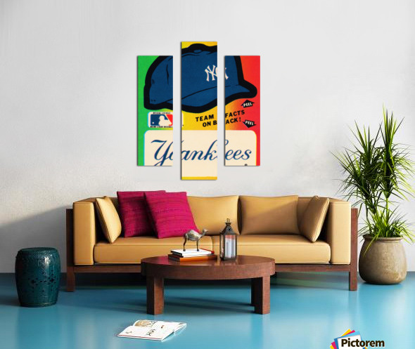 1982 fleer sticker new york yankees hat Canvas print