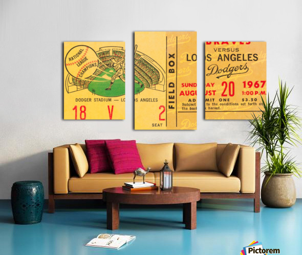 1967 LA Dodgers vs. Atlanta Braves Baseball Ticket Canvas Canvas print