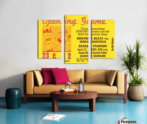 1955 aaa baseball denver bears opening game baseball ticket stub frame canvas Canvas print