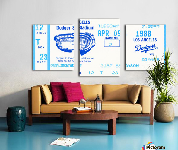 1988 la dodgers giants dodger stadium baseball ticket wall art sports gift Canvas print