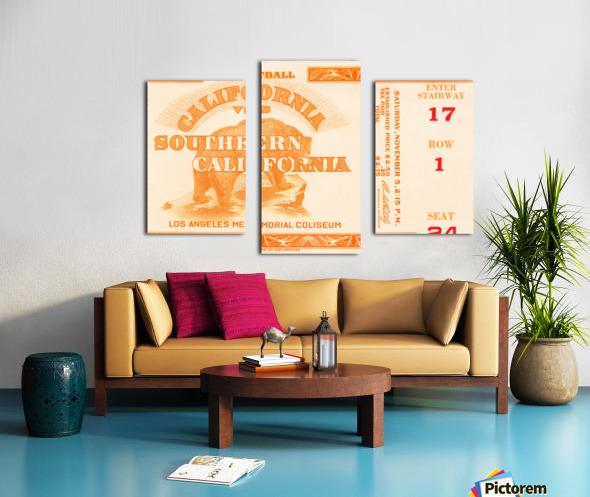 1938 cal bears usc trojans football ticket stub art la coliseum Canvas print