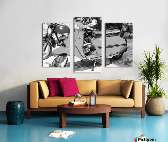 Lambretta Scooter Black and White Canvas print
