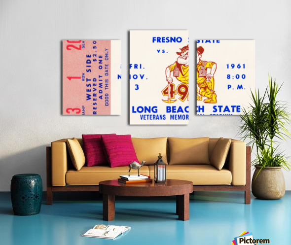 1961 long beach state fresno state football ticket art Canvas print