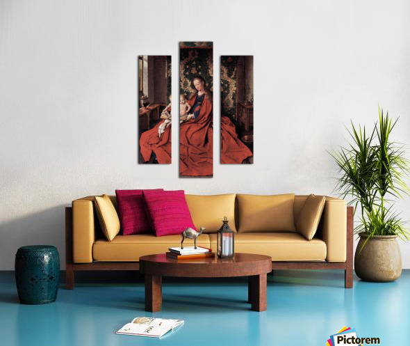 Madonna and child reading by Jan Van Eyck Canvas print