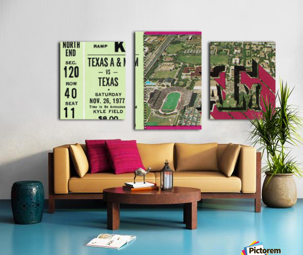 1977 texas am aggies college station football ticket stub wall art Canvas print