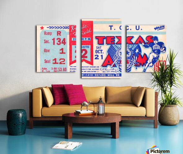 1950 texas am aggies tcu football ticket stub art kyle field college station Canvas print