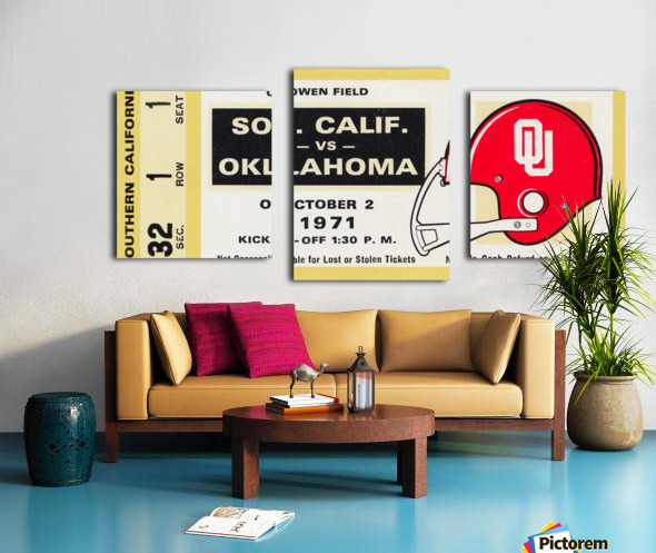 1971 usc trojans oklahoma sooners owen field norman ok football ticket wall art Canvas print