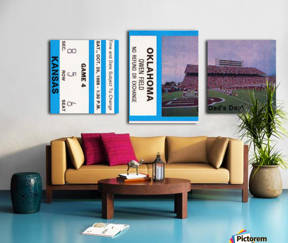 1988 oklahoma sooners kansas college football ticket art  Canvas print