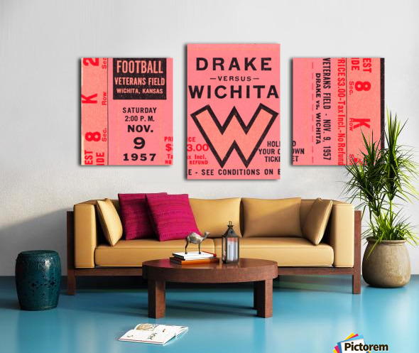 1957 drake wichita kansas college football ticket wall art Canvas print