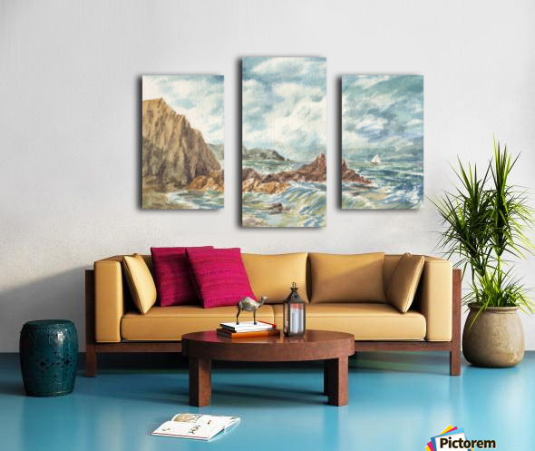Vintage Storm At Rocky Shore Canvas print