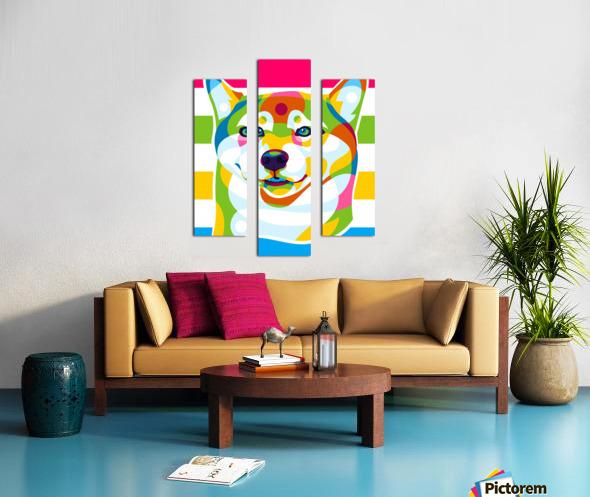 Shiba Inu Colorful Dog Canvas print