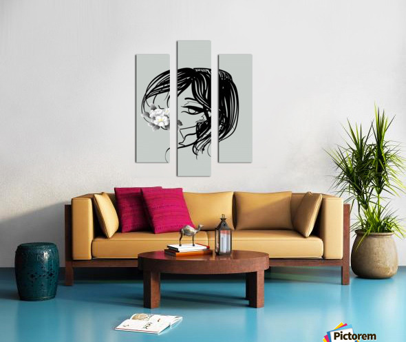 doodle with watercolor flower Canvas print
