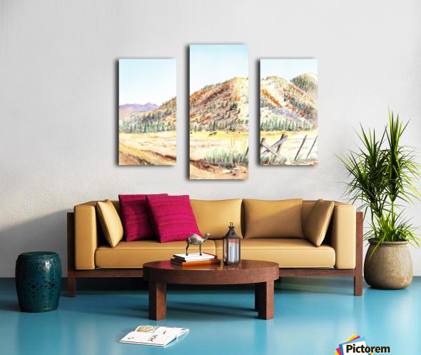 Landscape With Mountains Ranch And Cows Canvas print
