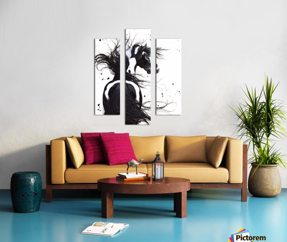 Black and White Pinto Horse Canvas print