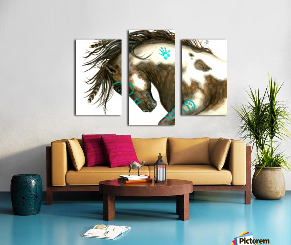 Pinto Horse Turquoise  Canvas print