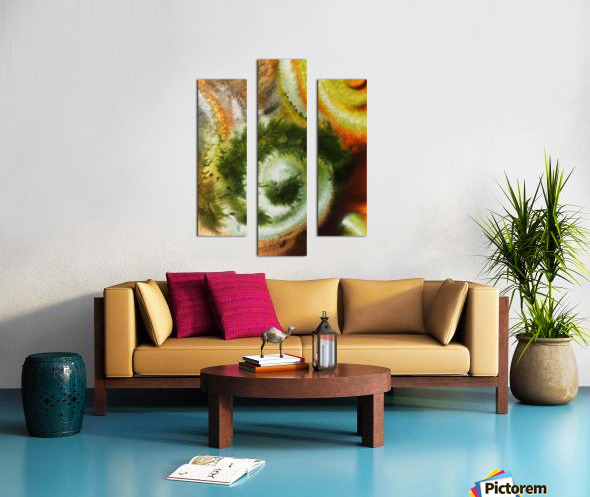 Fall Vortex Of Green Yellow Orange And Brown Abstract Watercolor  Canvas print