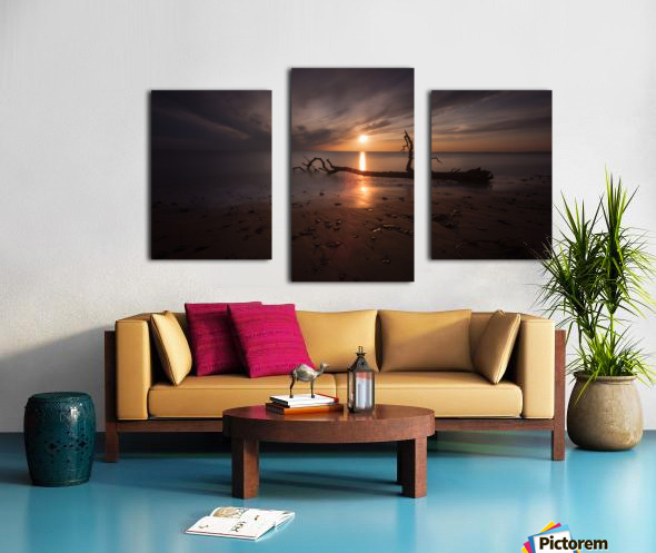 Sunset on Sker Beach Canvas print