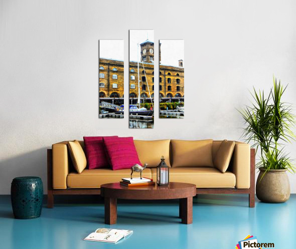 Boats in Front of Clock Tower St Katharine Docks Canvas print