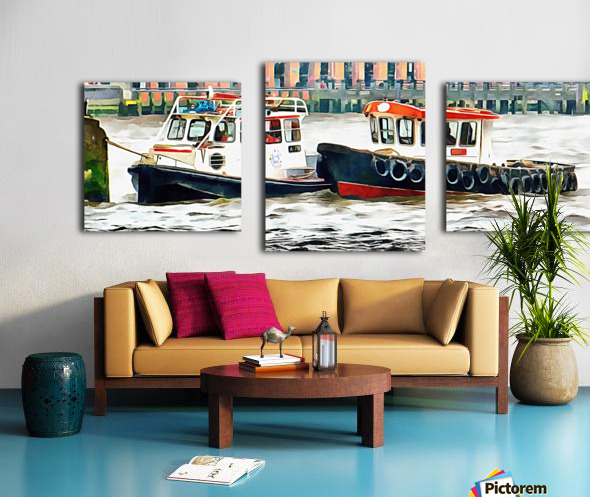 Two Boats Tied Up On The River Thames London Canvas print