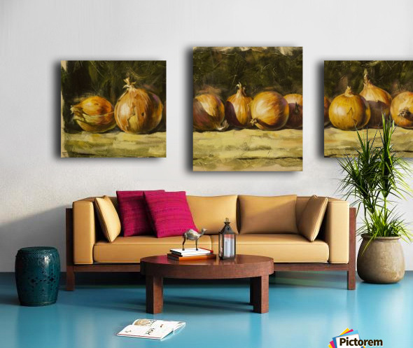 Kitchen Still Life with golden bow Canvas print