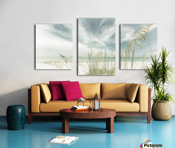 Heavenly calmness on the beach | Panoramic Vintage Canvas print