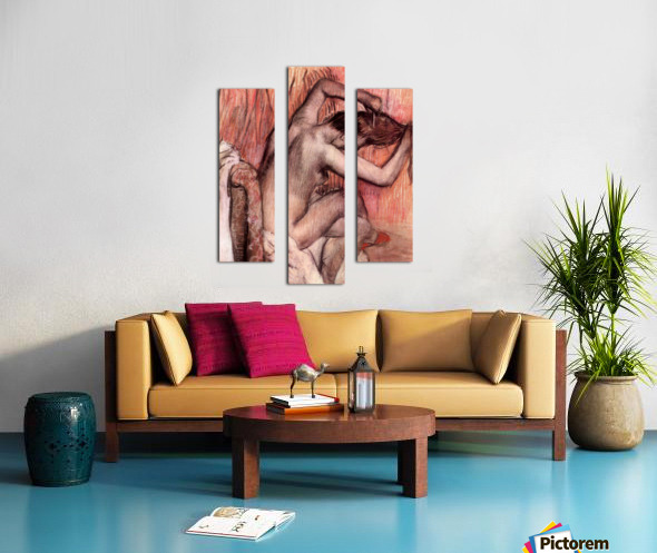 Sitting and brushing by Degas Canvas print