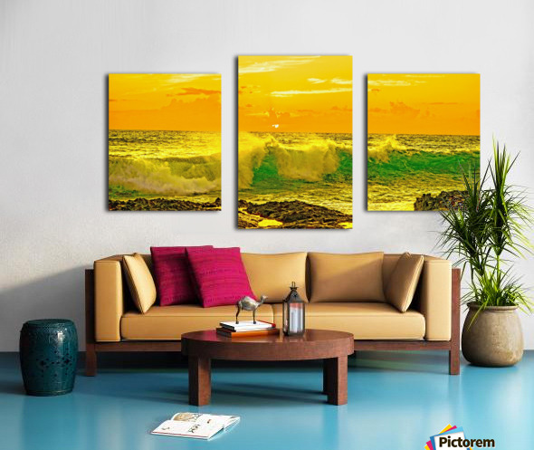 At the Sea Shore Panorama - Sunset Hawaiian Islands Canvas print
