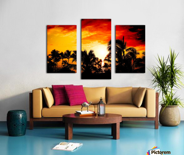 Fire in the Heavens - Sunset Hawaiian Islands Canvas print