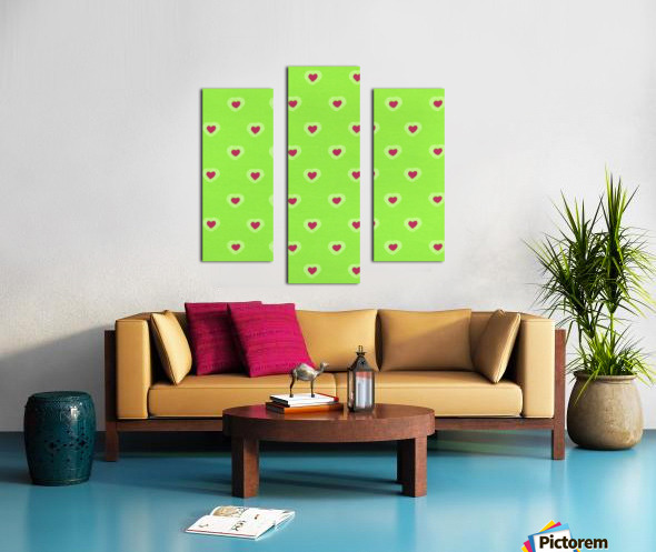 Hearts - Lime - Red Canvas print