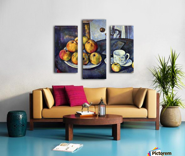 Still life with a bottle and apple cart by Cezanne Canvas print