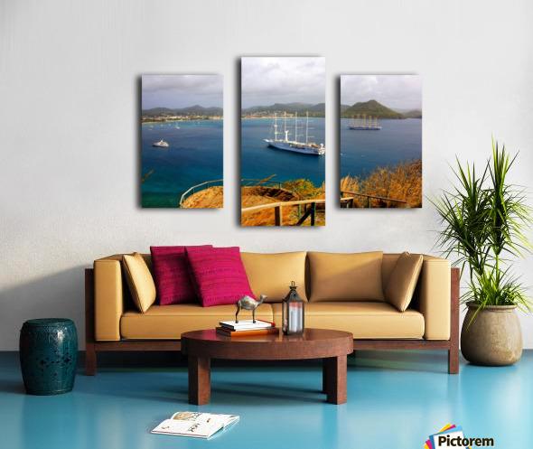 Tall ships at anchor Rodney Bay Landscape Canvas print