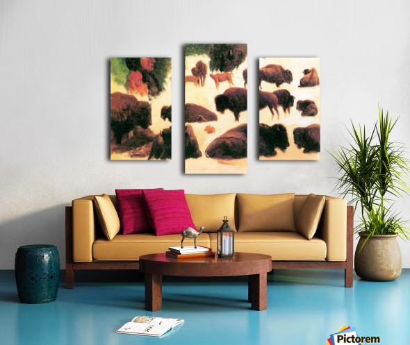 Study of Buffaloes by Bierstadt Canvas print