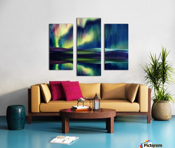 Aurora Borealis Magic Reflections Northern Lake Lights Watercolor Canvas print