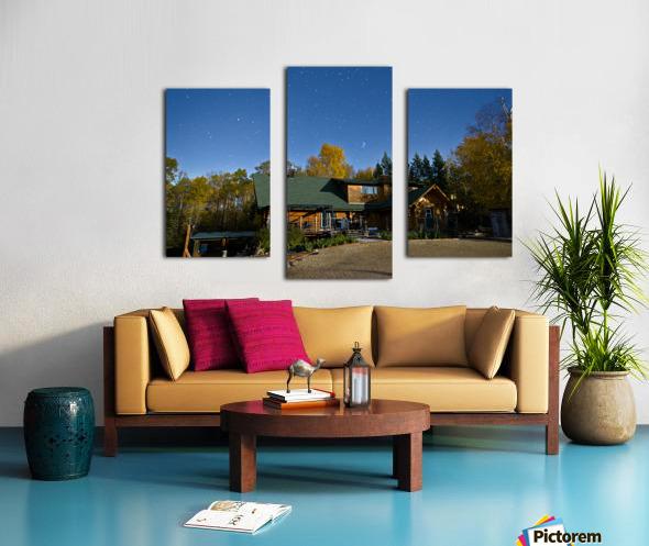 Nightscape Over Log Cabin Canvas print