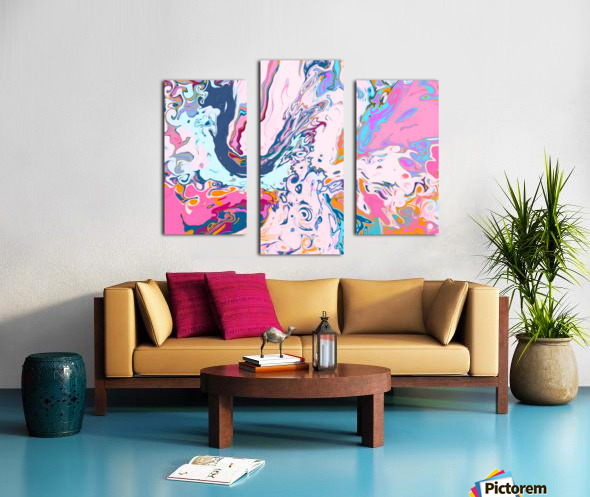 Baby Blue and Pink Paint Pour Canvas print