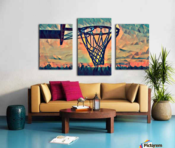 basketball hoop sunset Canvas print