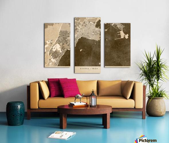 Sepia vintage map of Ibiza Spain Canvas print