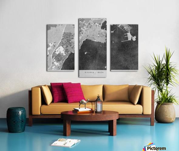 Gray vintage map of Ibiza Spain Canvas print