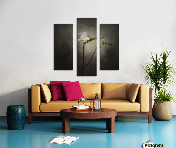 Graceful flower - Freesia   vintage style gold  Canvas print