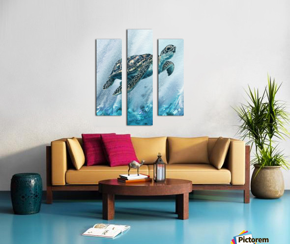 Watercolor Giant Turtle In Abstract Seaweed And Water XI Canvas print