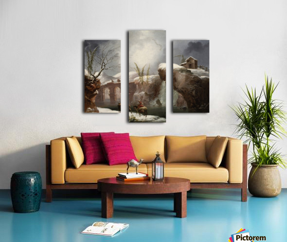 A winter landscape with travellers by a river Canvas print