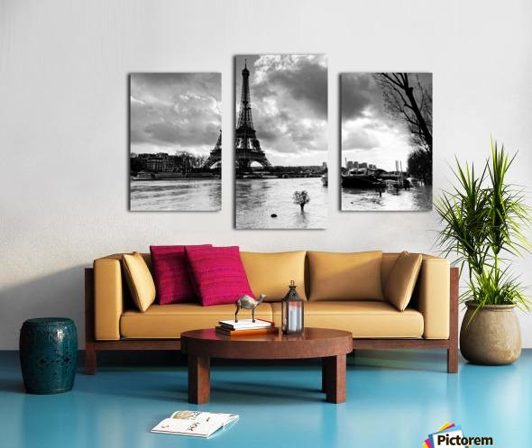 Eiffel tower flood Impression sur toile