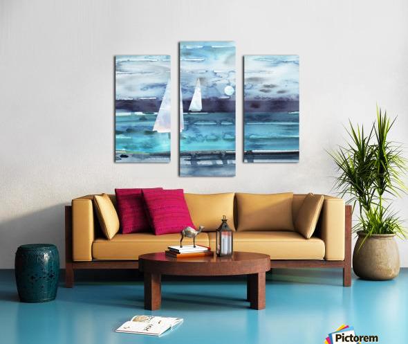 Beach House Art Sailboats At The Ocean Shore Seascape Painting XII Canvas print