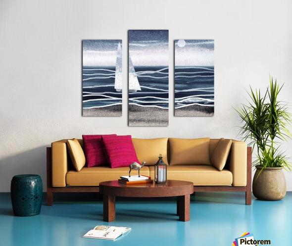 Beach House Art Sailboat At The Ocean Shore Seascape Painting XIII Canvas print
