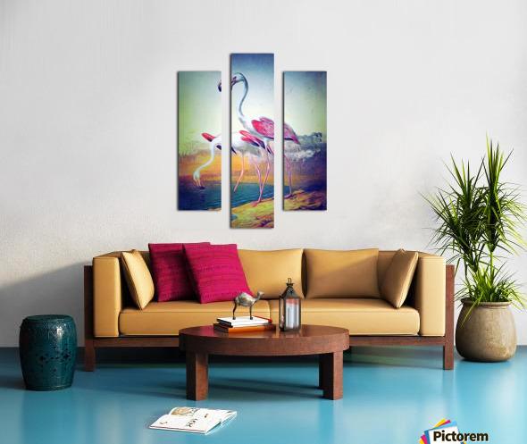 Regiment of Flamingoes Canvas print