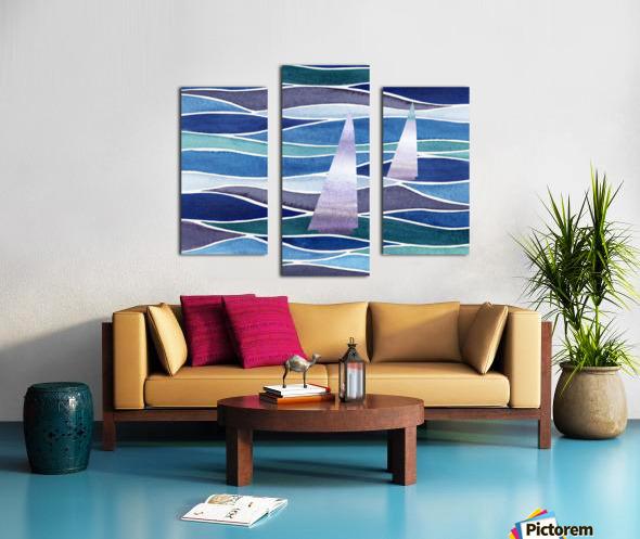 Sailboats At The Ocean Shore Seascape Painting Beach House Art Decor XIV Canvas print
