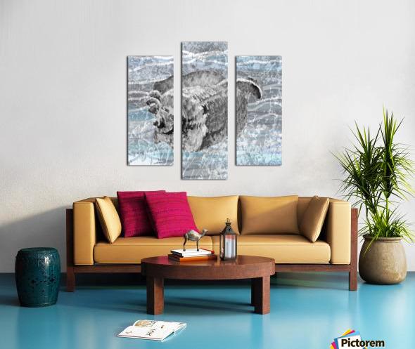 Silver Gray Seashell On Ocean Shore Waves And Rocks I Canvas print